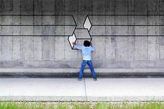 Street Art: Lúdica e interactiva geometría 3D creada con cinta de neón …