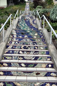 On July first, I went for a walk after church. It was cold and foggy, but I found these! Stairs mosaicked by hand by the surrounding community. Stairway Art, Stairway To Heaven, How To Draw Stairs, Street Art Utopia, 3d Drawings, Staircase Design, Outdoor Art, Art Club, Pathways
