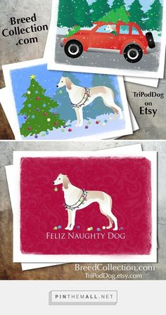 Saluki Dog Christmas Cards from the Breed Collection - Digital Download Printable on Etsy