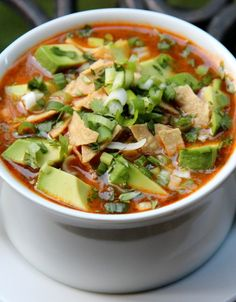 Tortilla soup made with turkey, onions, garlic, jalapenos, tomatoes, cilantro.