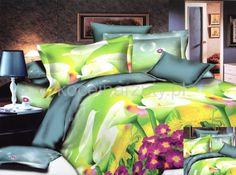 Jasnozielona pościel na łóżko w kwiaty