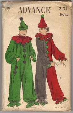 Advance 701 1970s Misses and Mens Circus Clown Jumpsuit Costume Pattern Unisex Vintage Sewing Pattern by patterngate.com