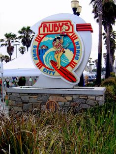 Ruby's (surf city diner sign ) in Huntington Beach California