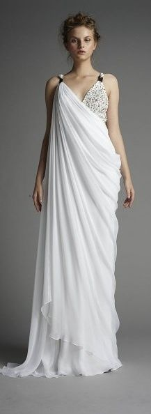 ancient greek inspired fashion - possible dress design for Hades costume - Halloween 2014 Greek Goddess Dress, Greek Dress, Greek Goddess Costume, Grecian Goddess, Greek Style Wedding Dress, Wedding Dresses, Greek Wedding, Wedding Wear, Greek Inspired Fashion