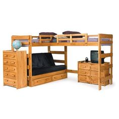Chelsea Home Furniture L Shaped Twin / Futon Loft Bed with Underbed Storage in Honey Bed With Underbed, Bunk Bed With Desk, Bunk Beds With Stairs, Futon Bunk Bed, Loft Bunk Beds, Kids Bunk Beds, Futon Mattress, Twin Futon, Futon Bedroom