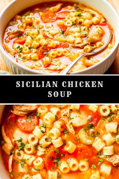 Sicilian Chicken Soup Brocolli Cauliflower Soup, Brocolli Soup Recipes, Instapot Soup Recipes, Whole30 Soup Recipes, Cabbage Soup Recipes, Tomato Soup Recipes, Vegan Recipes, Knefla Soup Recipe, Chicken Tortillini Soup