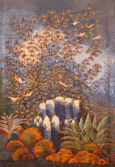 "Mohamed Mousa, Cactus, 1986.  From ""Thread of Life"" by E. A Stephano, 1990.  Ramses Wissa Wassef Tapestries, Giza, Egypt."