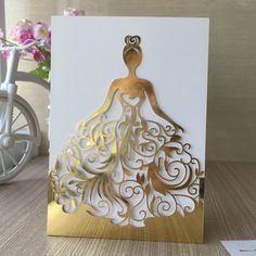 Laser Cut Beautiful Dress Girl Birthday Paty Wedding Invitation Cards Pretty Greeting Card photo ideas from Invitation Express Quince Invitations, Wedding Invitation Cards, Wedding Cards, Wedding Favors, Sweet 15 Invitations, Print Invitations, Invitation Paper, Diy And Crafts, Paper Crafts