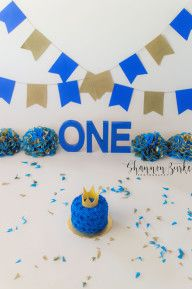 Phoenix, AZ Cake Smash Photographer | Boy - Royal Blue and Gold