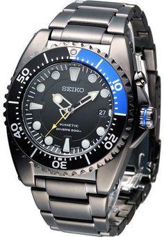 Seiko Kinetic Black Dial Stainless Steel Mens Watch SKA579 Seiko,http://www