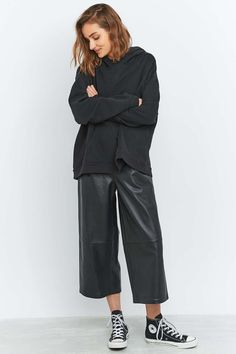 Light Before Dark Black Leather Culottes