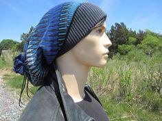 Lilax Knit Slouchy Oversized Soft Warm Winter Beanie Hat Navy Stripe
