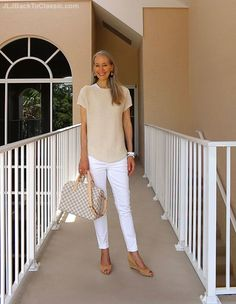 Classic Fashion Over 40/Beige and White Jeans Outfit With a Louis Vuitton Damier…
