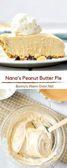 Easy No Bake Desserts, Delicious Desserts, Yummy Food, Peanut Butter Recipes, Peanut Pie Recipe, Peanut Butter Pie Recipe No Bake, Peanut Butter Balls, Pie Recipes, Sweet Recipes