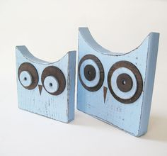 Set of 2 Distressed Pale Blue Wood Owls by ProjectCottage on Etsy, $49.95
