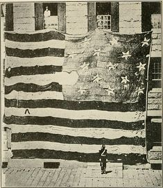 "This is the first known photograph of the American flag taken on June 21, 1873. The flag was flown over Fort McHenry in Baltimore, Maryland during an infamous battle between the British and the United States during the War of 1812 that inspired witness Francis Scott Key to pen ""The Star-Spangled Banner."""