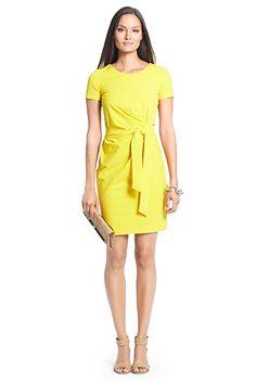 Zoe Short Sleeve Cotton Dress In Canary Yellow