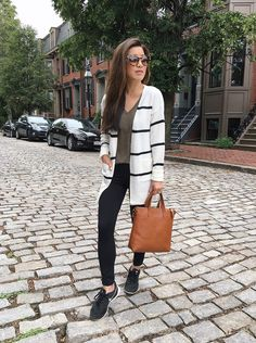 Athleisure outfit ideas for sprucing up gym clothes! Leggings + striped cardigan + Nike sneaker style by extra petite boston blog