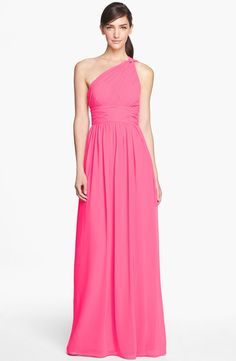 Donna Morgan 'Rachel' Ruched One-Shoulder Chiffon Gown | Nordstrom