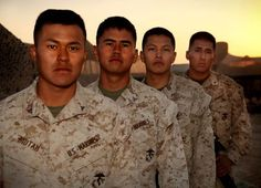 Navajo Marines, OB DELARAM II, Afghanistan-Forward Operating Base Delaram II, Nimruz province, Afghanistan – Lance Corporals Devin Bidtah and James Nelson, PFC Uriah Billie and Lance Cpl. Travis Yazzie, share a common past through their ancestors. These Navajo men are brothers as Marines, but more profoundly, because their clan ties bind them through the retracing of their ancestry, for some to Navajo Code Talkers of WWII. (Official US Marine Corps photo by Sgt. Dean Davis)