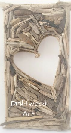 A beautiful, very unique and very large driftwood heart cut out wall hanging #ad
