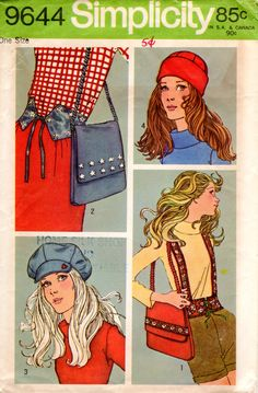 1970s Accessories - Vintage Pattern Simplicity 9644 - Belts Hat Cap Bag by ErikawithaK on Etsy