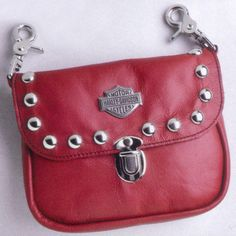 Harley-Davidson Studded Red Leather Hip Bag...just might have to get this one