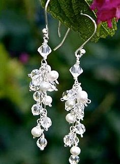 """#E005      Each Swarovski crystal and freshwater pearl is individually wire-wrapped and hung from sterling silver wire to create this """"grape cluster"""" earring.      **CUSTOMIZABLE  **Matching necklace and bracelet available"""