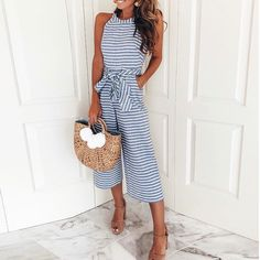 Striped Vacation Casual Jumpsuit Overall Sashes Pockets Long Wide Leg Pants Trend Fashion, Look Fashion, Womens Fashion, Ladies Fashion, Fashion Clothes, Fashion Ideas, Spring Fashion, Fashion Outfits, Feminine Fashion