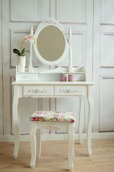Romantischer Landhaus Schminktisch mit Rosen Ornamenten,French/Shabby Chic weiß