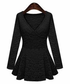 Stylish V-Neck Long Sleeve Lace Ruffled Blouse WomenVintage Blouses | RoseGal.com
