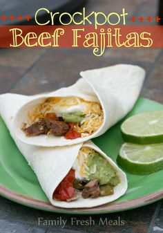 "Crockpot Fajitas - Family Fresh Meals  Karen's opinion-I have tried a thousand different recipes for crock pot fajitas, and this one is BY FAR my favorite!!!  So fresh, delicious and super easy.  No ""seasoning packets"" either! Just fresh, natural ingredients. I use beef strips for stir fry, and they're already cut into strips for me. I've also used chicken tenderloins and they work well too, but I cook the chicken for a shorter time. I cook the beef ones for only 4 hours on high and it comes…"