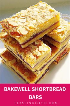 Jul 2019 - Bakewell Shortbread Bars Recipe buttery shortbread base covered in raspberry jam and topped with a light almond sponge with flaked almond ideal for picnics Tray Bake Recipes, Tart Recipes, Baking Recipes, Sweet Recipes, Cookie Recipes, Dessert Recipes, Desserts, Bakewell Tart, Recipes