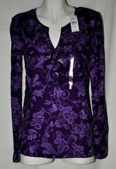 Ann Taylor Loft Purple Floral Cotton Top Sz Small NWT