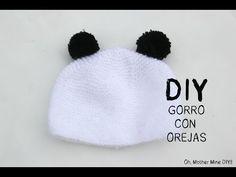 DIY Cómo hacer gorro de lana con orejas de panda - YouTube