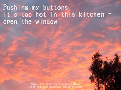 Pushing my buttons, it's too hot in this kitchen - open the window Haiku and photo by Stephanie Mohan- February 2015