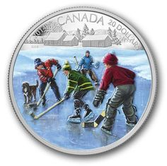 Hockey with friends on a frozen Canadian pond is nostalgia worthy of this 1 oz silver coin enhanced with Winter's blue ice and an array of colorful cozy hats and jackets. Canadian Things, Mint Coins, Gold And Silver Coins, Canadian History, O Canada, Silver Bullion, Commemorative Coins, Proof Coins, World Coins