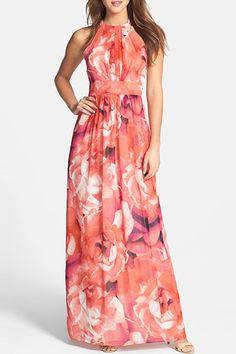 Flowers Print Round Neck Sleeveless Maxi Dress