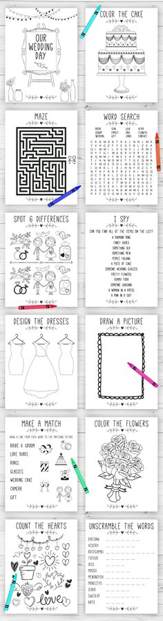 Wedding activity and coloring book for kid's table. Perfect for a reception or a kid's table at a bridal shower.