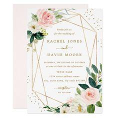 6a8342c68eeb Geometric Blush Gold Floral Wedding Invitation - invitations custom unique  diy personalize occasions Gold Wedding Theme