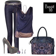 Create the best look with this printed satchel from #Baggit, which will surely grab all the attention you need…  L Senora Dingdong Blue - 2850/-