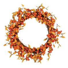 Fantastic Craft 'Fall Berry' Decorative Wreath ($39) ❤ liked on Polyvore featuring home, home decor, orange, orange home decor, fabric wreath, fabric home decor, autumn home decor and fall wreath