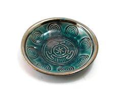 Hecate Spiral Offering Bowl Handmade Raku by DeBaunFineCeramics