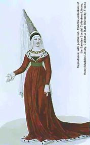"This noble woman wears a rather large hennin with her houppelande. It was possible for these cone shaped headdresses to reach heights up to 36"" (nobility only, of course). A veil was commonly laid over the hennin as seen here. It was also common for the veil to flow from just the very tip of the hennin.    Another indicator of her status is the fur that lines her houppelande. This is ermine-a luxurious white fur that had flexs of black in it (the black tip was found only on the tail of the…"