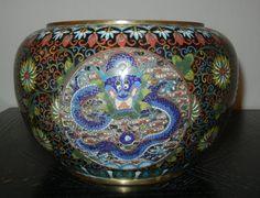 Antique Large 10in Chinese Cloisonne Dragon Metal Bowl Pot Planter