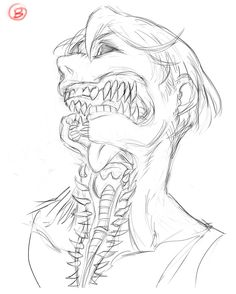 Monster Concept Art, Monster Art, Monster Drawing, Monster Sketch, Creepy Drawings, Dark Art Drawings, Wie Zeichnet Man Manga, Creature Concept Art, Creepy Art