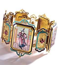 An Antique 18 Karat Gold, Enamel and Ruby 'Chinoiserie' Bracelet, France, Circa 1865. Composed of five polychrome enamel plaques depicting Chinese theatrical characters, including two female musicians, a princess consort, an immortal and a foreigner, spaced by five pierced plaques applied with quatrefoils of pear-shaped rubies, the borders accented with turquoise and royal blue champlevé enamel and old mine diamonds, French maker's mark and assay marks.