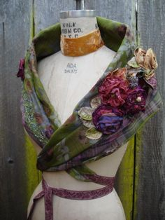 FashionRefashion  Combine plaid scarf with silk flowered scarf to make something beautiful & extraordinary! Learn how to make a couple flowers to appliqué! YES!