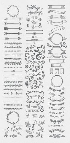 Buy Hand Drawn Vintage Elements Collection by egirldesign-vectors on GraphicRiver. Hand drawn vintage elements collection A set of 111 hand drawn vintage elements – dividers, frames, ribbons, phrases . Bullet Journal Inspo, Borders Bullet Journal, Bullet Journal Lettering Ideas, Bullet Journal Banner, Bullet Journal Notebook, Bullet Journal Aesthetic, Bullet Journal Ideas Pages, Bullet Journal Frames, Bullet Journals