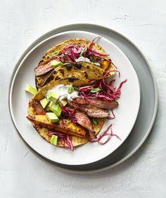 Steak and Plantain Tacos | RealSimple May 2016 Quick Cooking. Healthy Pick, Whole Grain